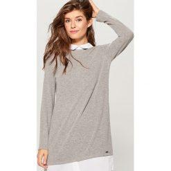 Sweter z koszulowymi wstawkami - Szary. Szare swetry klasyczne damskie marki DOMYOS, z bawełny. Za 119,99 zł.
