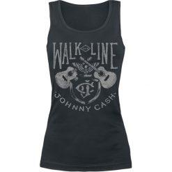 Johnny Cash Walk The Line Top damski czarny. Czarne topy damskie Johnny Cash, s, z nadrukiem, z okrągłym kołnierzem. Za 74,90 zł.