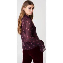 Bluzki asymetryczne: NA-KD Boho Szyfonowa bluzka z rękawami z falbaną - Purple,Multicolor