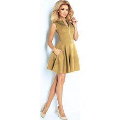 Sukienki: Francesca Sukienka z ekspresem z przodu i kieszonkami - BEŻOWA