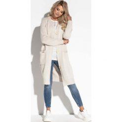 Kardigany damskie: Beżowy Długi Sweter Zapinany na Guziki
