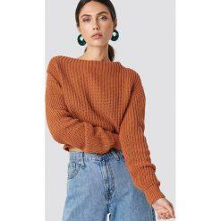 Glamorous Sweter z dzianiny - Orange. Różowe swetry klasyczne damskie marki Glamorous, z nadrukiem, z asymetrycznym kołnierzem, asymetryczne. Za 141,95 zł.