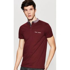 Koszulki polo: Koszulka polo z kontrastowym wykończeniem – Bordowy