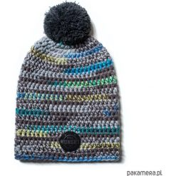 Czapki damskie: czapka dziana KRAFF GREY BLUE FUN handmade