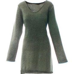 Sweter - 115-2720 MILI. Szare swetry klasyczne damskie marki Unisono, uniwersalny, z dzianiny, z asymetrycznym kołnierzem. Za 69,00 zł.