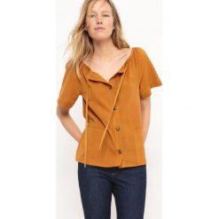Bluzki asymetryczne: Bluzka bawełniana, wiązana, odkryte ramiona