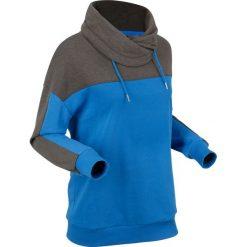 Bluzy damskie: Bluza dresowa, długi rękaw bonprix antracytowy melanż - lazurowy