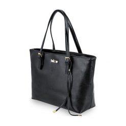 SKÓRZANA SHOPPERKA  GOLD LUNA CZARNA. Czarne torby na laptopa FeliceGold, w paski, z bawełny. Za 399,00 zł.