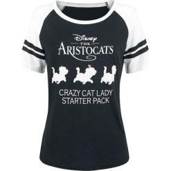 Aristocats Crazy Cat Lady Koszulka damska czarny/biały. Białe bluzki z odkrytymi ramionami marki Aristocats, xxl, z nadrukiem. Za 121,90 zł.