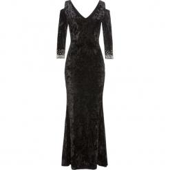 Sukienka wieczorowa z perłami bonprix czarny. Czarne sukienki koktajlowe bonprix, z okrągłym kołnierzem, z długim rękawem. Za 229,99 zł.