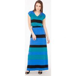 Sukienka maxi w pasy. Szare długie sukienki Monnari, na lato, z wiskozy, wakacyjne, z dekoltem na plecach. Za 71,70 zł.