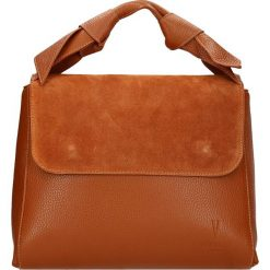 Torebki klasyczne damskie: Skórzana torebka w kolorze karmelowym – 28 x 25 x 14 cm