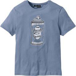 T-shirty męskie z nadrukiem: T-shirt Slim Fit bonprix matowy niebieski