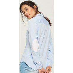 Koszula z łatami na łokciach - Niebieski. Niebieskie koszule damskie Sinsay, l. Za 49,99 zł.