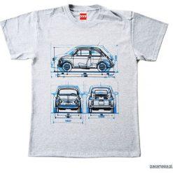 Koszulka FIAT 500 OLD GRAY tshirt. Szare t-shirty męskie z nadrukiem Pakamera, m, z klasycznym kołnierzykiem. Za 77,00 zł.