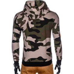 BLUZA MĘSKA ROZPINANA Z KAPTUREM B797 - ZIELONA/MORO. Zielone bluzy męskie rozpinane marki Ombre Clothing, m, moro, z bawełny, z kapturem. Za 49,00 zł.