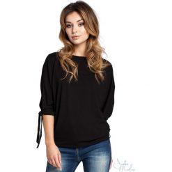 Bluzka rozcięte rękawy bee-036. Czarne bluzki asymetryczne BEE, m, z jeansu, z krótkim rękawem. Za 109,90 zł.