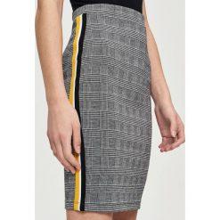 Spódniczki: Ołówkowa spódnica z lampasami – Żółty