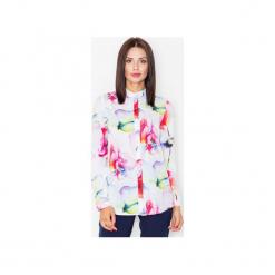 Koszula M504 Wzór 7. Szare koszule damskie marki FIGL, m, z bawełny, eleganckie, z asymetrycznym kołnierzem, z długim rękawem. Za 119,00 zł.