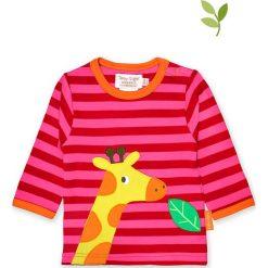 Koszulka w kolorze czerwono-różowym. Czerwone bluzki dziewczęce bawełniane Toby Tiger, z aplikacjami, z okrągłym kołnierzem, z długim rękawem. W wyprzedaży za 85,95 zł.