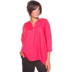 """Bluzki asymetryczne: Lniana bluzka """"Aria"""" w kolorze koralowym"""