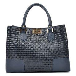 Torebki i plecaki damskie: Skórzana torebka w kolorze granatowym – (S)27 x (W)38 x (G)15 cm