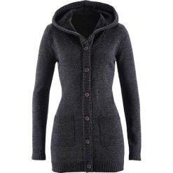 Sweter rozpinany z kapturem bonprix czarny melanż. Czarne kardigany damskie bonprix. Za 99,99 zł.