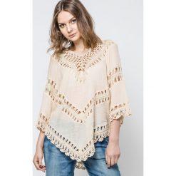 Bluzki damskie: Bluzka zdobiona szydełkowymi wstawkami beżowa