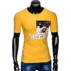 T-SHIRT MĘSKI Z NADRUKIEM S985 - ŻÓŁTY. Czarne t-shirty męskie z nadrukiem marki Ombre Clothing, m, z bawełny, z kapturem. Za 29,00 zł.