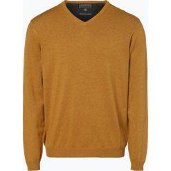 Finshley & Harding - Sweter męski z dodatkiem kaszmiru, złoty. Czarne swetry klasyczne męskie marki Finshley & Harding, w kratkę. Za 179,95 zł.