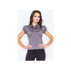 Koszula M026 Szary. Szare koszule wiązane damskie FIGL, l, z bawełny, klasyczne, z klasycznym kołnierzykiem, z krótkim rękawem. Za 73,00 zł.