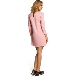 LENA Mini sukienka – tunika z kieszenią w kształcie serca - różowa. Czerwone sukienki mini marki Moe, z dzianiny. Za 99,00 zł.