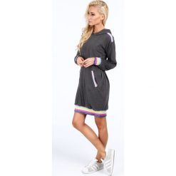 Sukienki: Oversizowa sukienka z kapturem ciemnoszara 4025