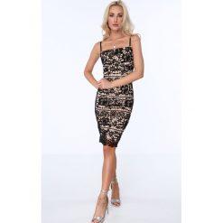 Sukienka koronkowa na cienkich ramiączkach czarna ZZ261. Czarne sukienki marki Fasardi, l, z koronki, na ramiączkach. Za 99,00 zł.