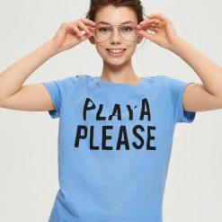 T-shirt z napisem - Niebieski. Niebieskie t-shirty damskie marki Sinsay, l, z napisami. W wyprzedaży za 9,99 zł.