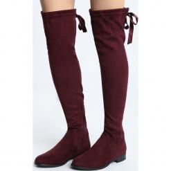 Bordowe Kozaki Gracing. Czerwone buty zimowe damskie marki Born2be, z materiału, z okrągłym noskiem, na obcasie. Za 139,99 zł.