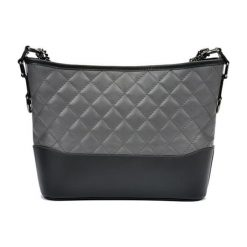 Torebki klasyczne damskie: Skórzana torebka w kolorze szaro-czarnym – (S)22,5 x (W)34 x (G)8,5 cm