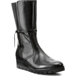 Kozaki GABOR - 71.862.27 Schwarz. Czarne buty zimowe damskie marki Gabor, z materiału, przed kolano, na wysokim obcasie. W wyprzedaży za 399,00 zł.