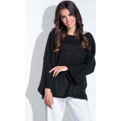 Swetry klasyczne damskie: Luźny Czarny Sweter z Szerokim Rękawem