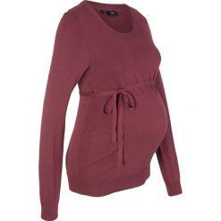 Sweter ciążowy z 100% bawełny, z wiązanym paskiem bonprix czerwony klonowy. Czerwone swetry klasyczne damskie bonprix, z bawełny, moda ciążowa. Za 74,99 zł.