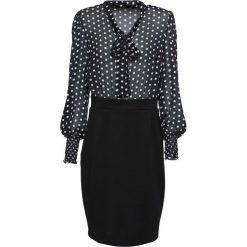 Sukienka 2 w 1 bonprix czarno-biały. Czarne sukienki balowe bonprix, w grochy, z dzianiny, z kokardą, dopasowane. Za 149,99 zł.