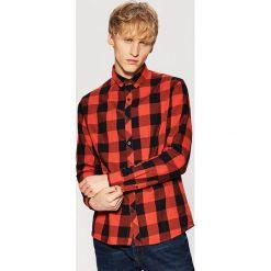 Koszula w kratę - Pomarańczo. Czarne koszule męskie marki House, l, z nadrukiem. Za 59,99 zł.
