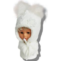 Czapka dziecięca z szalikiem CZ+S 019NA biała r. 46-48. Białe czapeczki niemowlęce Proman. Za 58,14 zł.
