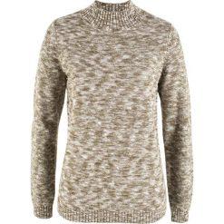 Swetry klasyczne damskie: Sweter ze stójką bonprix biel wełny – oliwkowy melanż