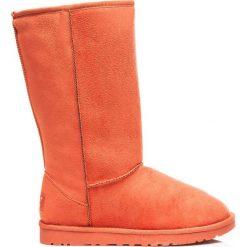 Buty zimowe damskie: Pomarańczowe wysokie kobiece ciepłe śniegowce