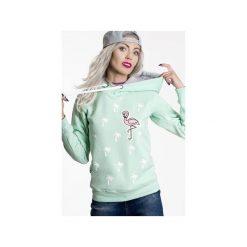Bluzy damskie: Bluza Palms and Flamingo- Mięta ( kaptur)
