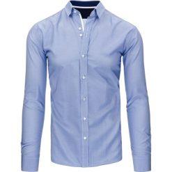 Koszule męskie: Biało-niebieska koszula męska w paski (dx1071)