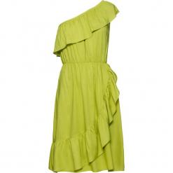 Sukienka na jedno ramię bonprix pistacjowy. Zielone sukienki na komunię marki bonprix. Za 49,99 zł.