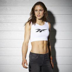 Koszulka Reebok Classics Fitness Crop Top (BK4128). Białe bluzki sportowe damskie Reebok, z materiału, z podwójnym kołnierzykiem, bez rękawów. Za 49,99 zł.