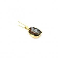 Naszyjnik Agat Geoda Naturalna złoto. Żółte naszyjniki damskie Brazi druse jewelry, na imprezę, pozłacane. Za 170,00 zł.